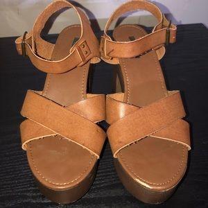 Wooden Heel Platform Sandals